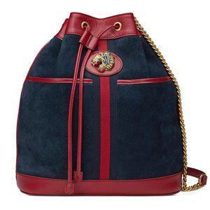 Gucci Bucket Rajah Medium Suede Hobo Bag in Blue